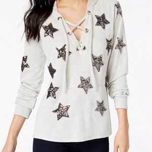 INC Sequin Silver Stars Hooded Sweatshirt NWT
